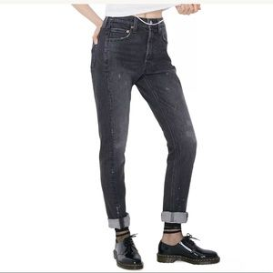 Levis Women's 501 Skinny Black  Altered Jeans